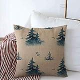 N\A Fundas de cojín de Lino Decorativas Rusia Azul Patrón de Acuarela Parques de Cuento de Hadas místicos Cuento Alaska Birds Canadá Navidad Funda de cojín Cuadrado frío para decoración del hogar