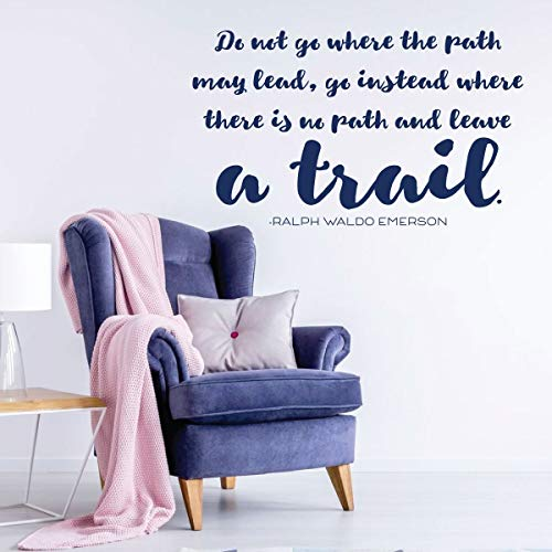 Ralph Waldo Emerson Quote | Motivational Wall Decal | 'Where The Path May Lead' | Vinyl Art for Home, Bedroom or Living Room Decor | Large and Small Sizes | Black, White, Blue, Red, Other Colors
