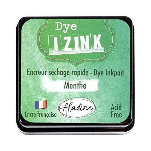 Aladine - Encreur Izink Dye Menthe - Encreur à Séchage rapide pour Tampons et Pochoirs - Scrapbooking et Carterie Créative - Encre Française - Taille M - 5 x 5 cm - Couleur Verte Menthe