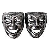 Scary Halloween Silver Comedy mask Set for Adults,Costume Cosplay Party Mask 2pcs (Smiling face)