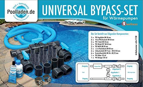 well2wellness® Pool Bypass Set UNIVERSAL für Wärmepumpen, Poolheizungen und Solarheizungen