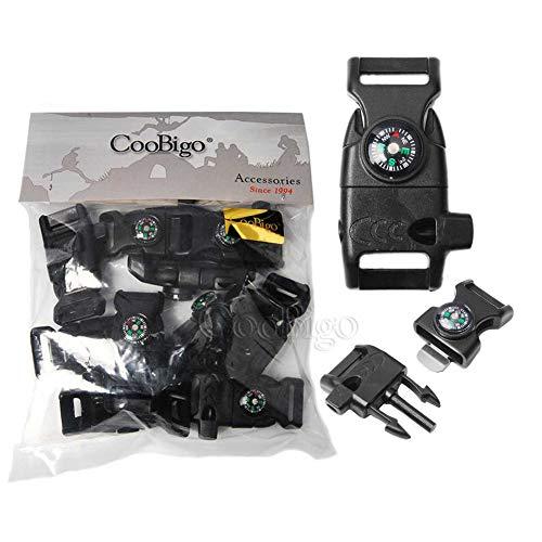 10pcs Pack Black 5/8' Compass Flint Scraper Fire Starter Whistle Buckle Plastic Paracord Bracelet Outdoor Camping Emergency Survival Travel Kits #FLC158-FWC(Black)