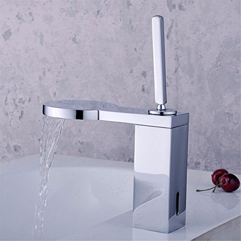 LaLF Europischer Wasserhahn Silber Wasserfall Outlet heies und kaltes Wasser Keramikventil Einlochmontage Einhand-Bad Waschbecken Wasserhahn
