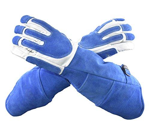 Insun Anti Tier Bisse Rindleder Schutzhandschuhe Dicke Hundetraining Haustier Schlange Haustier Handschuhe Anti Kratzer Gardening Wildtiere Griff Handschuhe Blau 7.5