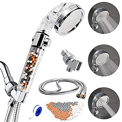 SEANADO Filtered Shower Head with Handheld High Pressure Hose 3 Mode Function Spray Showerhead Hard Water Softener Filter Removes Chlorine for Dry Hair & Skin Spa
