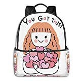 fepeng Mochila de corazones para niñas y niños de viaje duradero casual adolescente Bookbag 15 pulgadas Laptop College Daypack mujeres hombres, Negro, Talla única