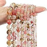 KaKaDz Cuarzo Multicolor Multicolor Cuarzo de Cuarzo Perlas de Piedra Natural Separador Suelto Bead-4/6/8/10 / 12mm (Color : Multicolor, Item Diameter : 4mm-90pcs)