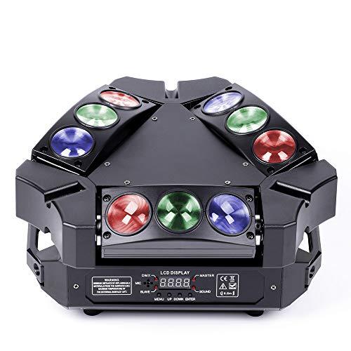 UKing Spider Moving Head 60W 9 LED Heads Beam DMX Discolicht Lichteffekte 12/19 CH Musikgesteuert Partylicht für DJ Disco Bar Bühnenlicht