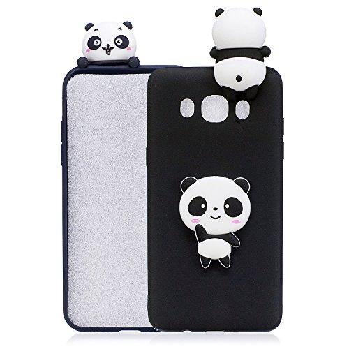 Funluna Cover Galaxy J7 2016 Silicone, 3D Panda Modello Ultra Sottile Morbido TPU Silicone Custodia Antiurto Protettiva Copertura Flessibile Gomma Gel Back Cover per Samsung Galaxy J7 2016