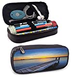KLKLK Mäppchen Lake Standing Pencil case Tranquil Summer View of Setting Sun on The Horizon of Lake Macquarie in Belmont Unique Design Blue Orange Umber