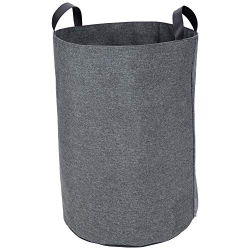 Bigso Box of Sweden Aufbewahrungskorb für Kleidung, Spielzeug usw. – freistehender Korb mit 2 Griffen – großer Wäschesammler aus Polyester und Karton in Leinenoptik (Grau)