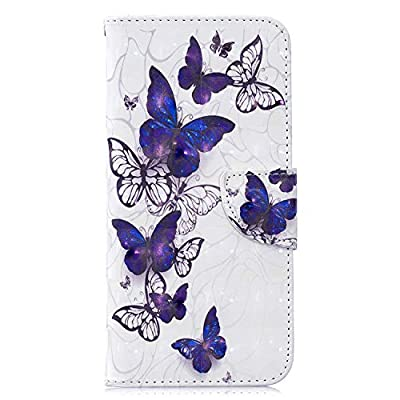 Samsung Galaxy S20 Case 3D Shockproof PU Leather Flip Wallet Phone Case Folio Slim Magnetic Protective Cover Soft TPU Bumper with Stand Card Holder Slots for Samsung S20 Blue & White Butterfly