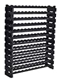 Stackable Modular Wine Rack Storage Stand Display Shelves, Thick Wood (Black, 12 X 12 Rows (144...