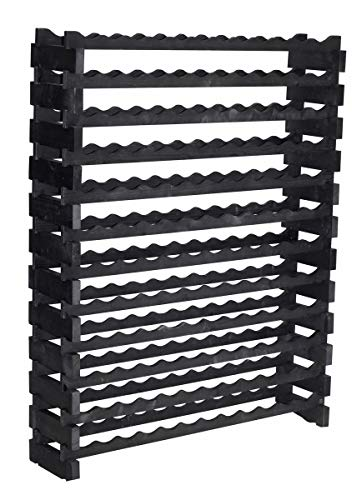 Stackable Modular Wine Rack Storage Stand Display Shelves, Thick Wood (Black, 12 X 12 Rows (144 Slots))