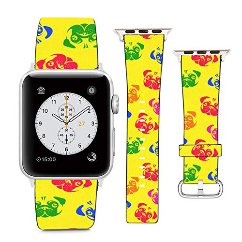 Compatible with Apple Watch Wristband 42mm 44mm, (Colorful Pug Dog) PU Leather Band Replacement Strap for iWatch Series 5 4 3 2 1
