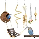 KATUMO 6 Pcs Bird Parrot Toys, Natural Wood Coconut Bird House with Ladder Hanging Swing Pet Climbing Rotated Ladder Chewing Bells Bird Toys for Parakeet, Conure, Cockatiel, Mynah, Love Birds, Finch