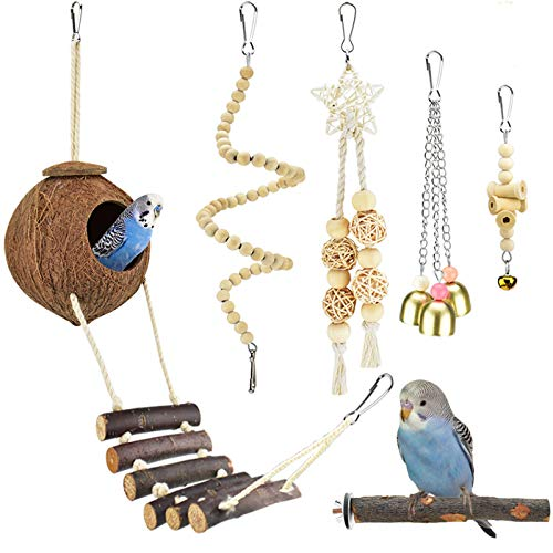 KATUMO Bird Toys, Natural Wood Coconut Bird House with Ladder Hanging Swing Pet Climbing Rotated...