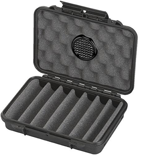MAX PRODUCTS® Zigarren Humidor Reisehumidor in Etuiform Wasser und staubdicht IP67 für 7 Zigarren