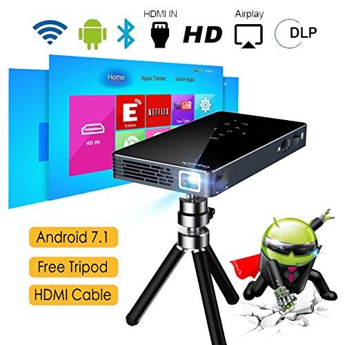 ExquizOn Vidéoprojecteur HD, P8I Mini Vidéoprojecteur Android 7.1 1G...