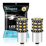 ALOPEE - (Confezione da 2) Lampadina di Ricambio per Auto a LED Giallo Brillante per Indicatore di Direzione Luce Lampeggiante 1056 BAU15S 7507 12496 RY10W, con 33 Pezzi 2835 Chip, 12V-24V-DC/AC.