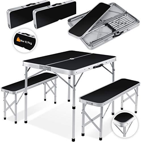 Kesser® - Koffertisch mit 2 Sitzbänke 3tlg Campingmöbel Set Aluminium | Totalmaße geklappt 91x10x34 cm | Campingtisch Klapptisch Picknick | Inkl. Schirmhalterung | Tragegriff MDF Klappbar Schwarz