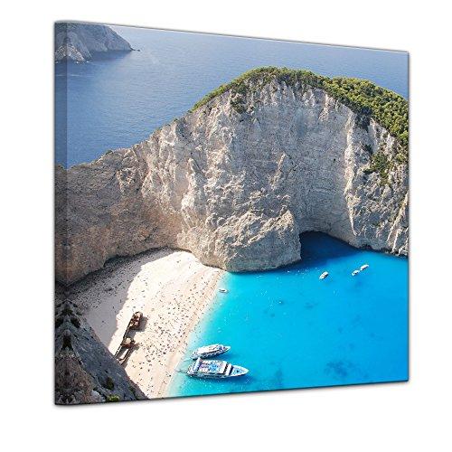 Bilderdepot24 Bild auf Leinwand | Schiffbruch auf Zakynthos - Griechenland in 60x60 cm als Wandbild | Wand-deko Dekoration Wohnung modern Bilder | 16051