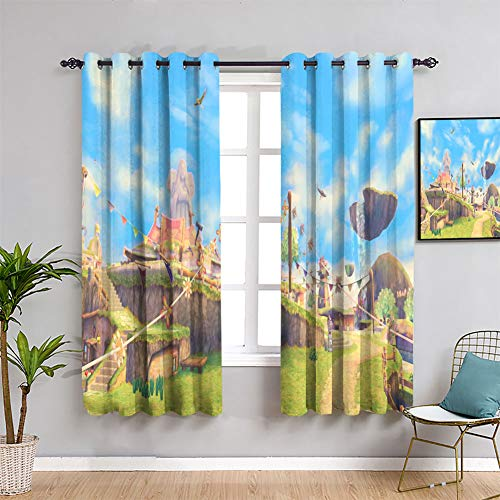 Elliot Dorothy Energy Efficiency Curtains The Legend of Zelda Breath of the Wild Curtains for Living Room Waterproof Window Curtain W42 x L54