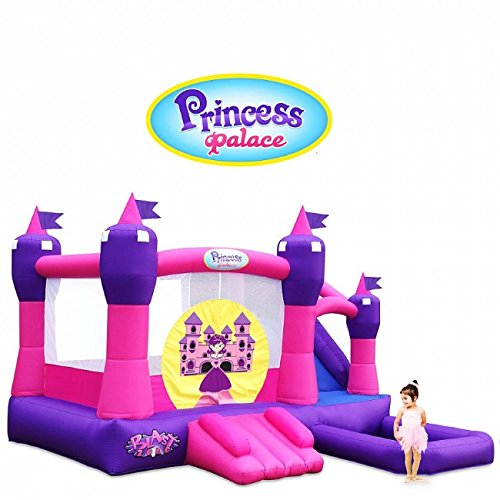 Blast Zone Princess Palace - Inflatable Combo Bounce House with Blower - Premium Quality - Holds 6 Kids - Wet/Dry - With Slide