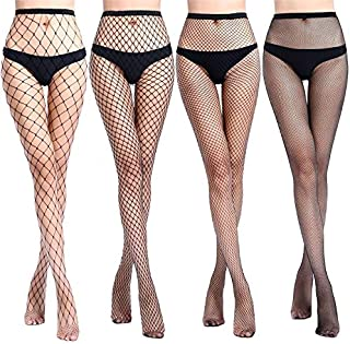 YTCM12 Hollow Out Pantyhose Black Mesh Stockings Jeans Stretch Bottoming Stocking Fishnet Stockings Tights Female (Color : Middle Big Mesh, Size : A)