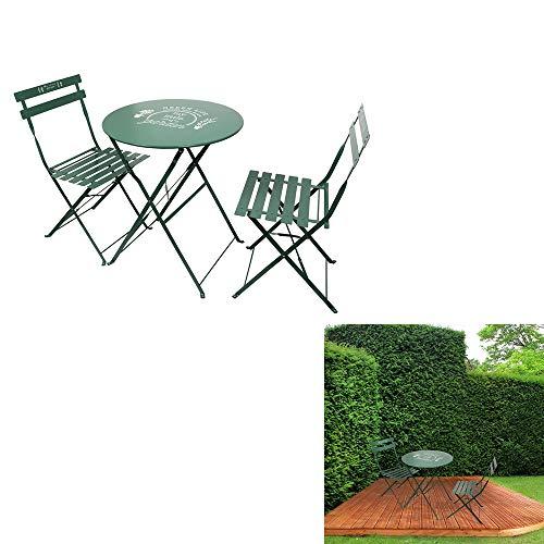THE HOME DECO FACTORY Lot de 2 Chaises avec Table de Jardin, Métal-Acier, Vert, 60 x 71 x 60 cm