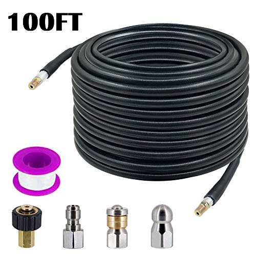 AgiiMan Sewer Jetter Nozzles Kit - 1/4 Inch100ft Drain Cleaning Hose for Pressure Washer, Button Nose and Rotating Sewer Jetting Nozzle, Orifice 4.0, 4.5, 4000 PSI