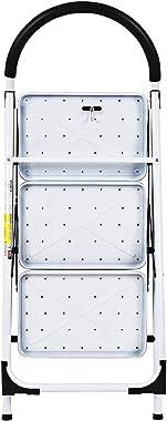 ReunionG 3 Step Ladder, Folding Step Stool Platform w/Sturdy Frame Rubber Hand Grip & Anti-Slip Pedal, Multiple Use Step