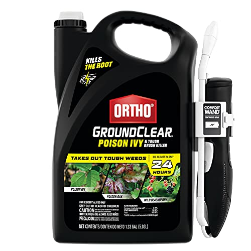 Ortho GroundClear Poison Ivy & Tough Brush Killer - Ready to Use with Comfort Wand, Poison Ivy Killer, Also Kills Poison Oak, Kudzu, Wild Blackberry, Vines & More, Kills to the Root, 1.33 gal.