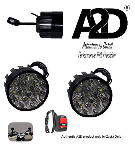 A2D® 9-LED Small Handle Mirror Mount Aux Bike Fog Lamp Light Set Of 2 + Switch WHITE For Bike Of Royal Enfield 350