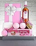 Rose Wine Gift Hamper - Zinfully Pink. Italian Blush Rosé Wine & Pink Spa Treats