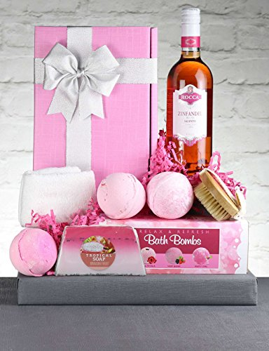 Rose Wine Gift Hamper - Zinfully Pink. Italian Blush Rosé Wine & Pink Spa Treats