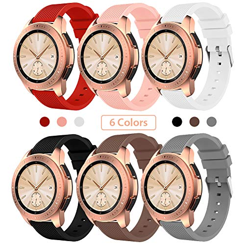 Sundaree Compatible con Correa Galaxy Watch 42MM/Galaxy Watch Active2,6 Colores Silicona Reemplazo Correa 20MM Banda Pulsera de Repuesto Correa para Samsung Galaxy Watch Active2 40mm/44mm(42MM)