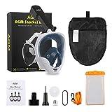 AGM Masque de Plongée, Masque Snorkeling Intégral sous-Marine avec Plein Visage 180° Visible, GoPro Compatible, Dual Tuba Anti-buée Anti-Fuite, Facile à Respirer pour Adultes Enfants
