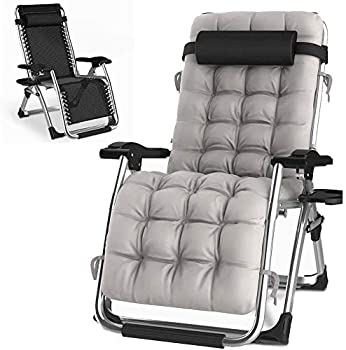 HITO Outdoor Lounge Chairs Sun Loungers Zero Gravity Chairs Adjustable Padded Lounger Chair with a Cup Holder Soft & Comfortable Supports Over 440lbs/200kg