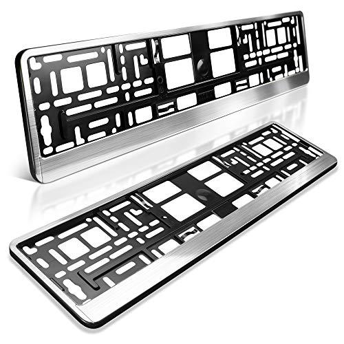 schildEVO 2 Kennzeichenhalter | Silber matt gebürstet | Metallic Chrom Look | Nummernschildhalter | DHL-Versand