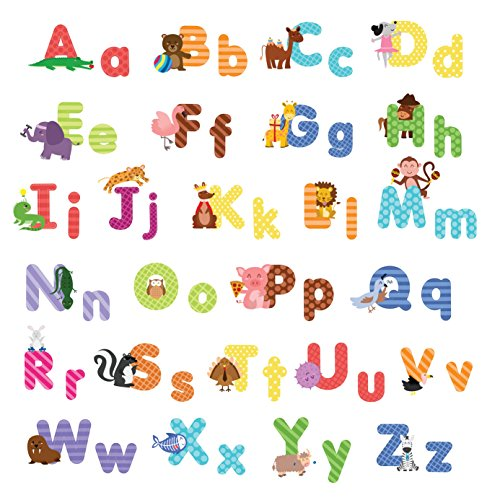 treepenguin Kids Animal Alphabet Wall Decals: Cute Removable ABC Wall Stickers for Toddler Boys and Girls Rooms - Large Educational Letters for Bedrooms Playrooms & Baby Nursery Wall Decor