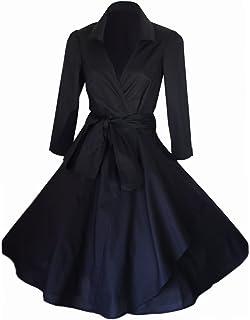 Abito da donna stile vintage, anni '40/'50,Rockabilly/Swing/pin-up, in cotone, a portafoglio, taglie 36&...