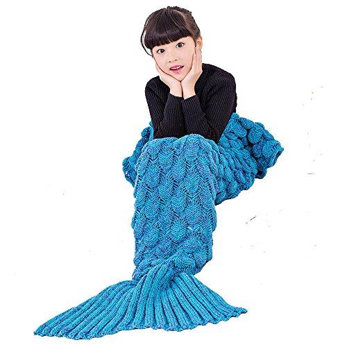 Umeicool Sirena Manta Croché Ondulado Escama Suave Cuatro Estaciones Saco De Eormir Para los niños o Adultos (Niños azules)