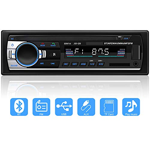 YYKJ 1 Din Autoradio con Bluetooth In-Dash Autoradio, SD/USB/BT Autoradio, AUX MP3 Multimedia Player