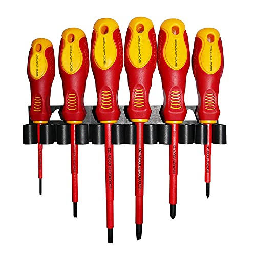 Juego de 6 destornilladores aislados VDE de 1500 V con punta magnética, mango de TPR para electricistas, ranura en cruz y herramientas ranuradas con comprobador de seguridad para electricistas