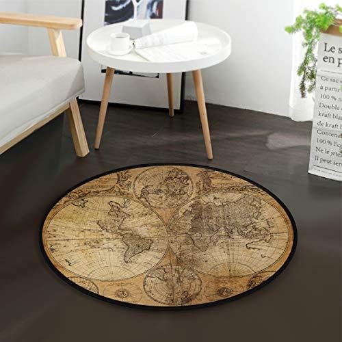 Tapis rond Mnsruu - Motif carte du monde - 92 cm de diamètre