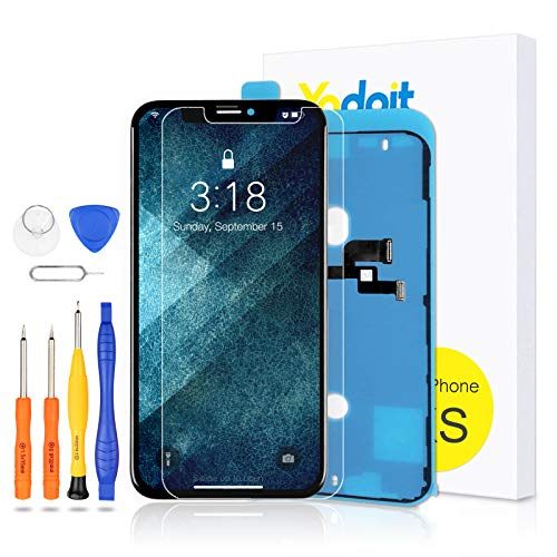 Yodoit Screen Replacement for iPhone XS LCD Display and Digitizer Assembly Glass 3D Touch Flexible Touch Screen Replacement With Free Tools (5.8 inch Black)