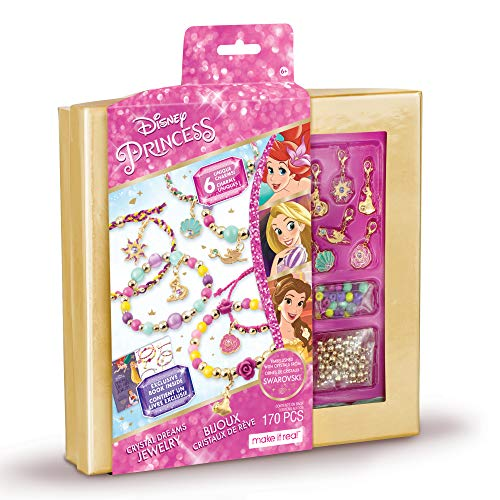 Make It Real  Disney Princess Crystal Dreams Jewelry  DIY Bead amp Charm Bracelet Making Kit  Includes Jewelry Making Supplies Charms with Swarovski Crystals amp Exclusive Disney Princess Book