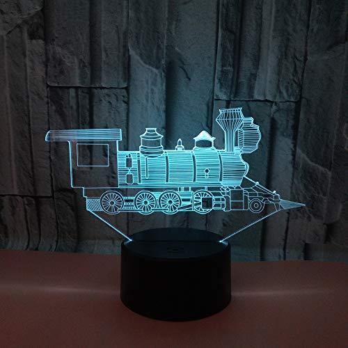 HNXDP Creativo Locomotora Regalo de vacaciones Luz tridimensional visual Luz nocturna Toque Colorido Cambio de color Lámpara de mesa pequeña A1 Fondo negro