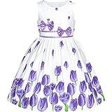 Sunny Fashion Vestido para niña Morado Festival de Tulipanes Casual Floral 4-5 años
